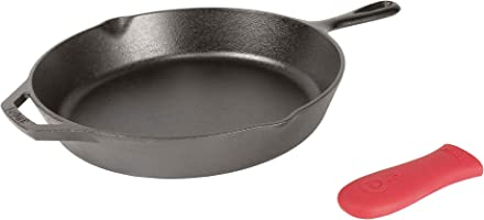 Lodge Cast Iron Skillet with Red Mini Silicone Hot Handle Holder, 8-inch