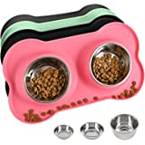 Juqiboom Dog Bowls 2 Stainless Steel Bowl for Pet Water and Food Feeder with Non Spill Skid Resistant Silicone Mat for Pets P