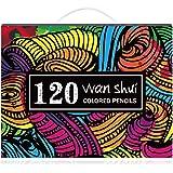 Wanshui色鉛筆 120色セット 画材セット 絵の具 アート鉛筆 塗り絵 美術 描き用 スケッチ用 プレゼント用 写生 透明ケース包装 教材 文房具 良い贈り物