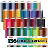 Shuttle Art 色鉛筆 カラーペン 136色セット 大人の塗り絵 スケッチ イラスト 落書き 手帳 ノード子供用…