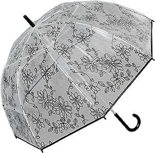肩が濡れにくい透明ビニール傘 花柄 (ブラック) 【LIEBEN-0634】ドーム型 バードケージ