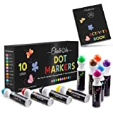 Washable Dot Markers for Kids with Free Activity Book | Large 10 Colors Set | Water-Based Non Toxic Paint Daubers | Dab Marke