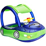 iGeeKid Baby Inflatable Pool Float with Canopy, Car Shaped Swim Float Boat with Sunshade for Toddler Infant Boys Girls Pool F