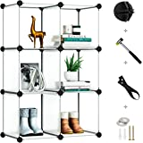 Greenstell 6 Cubes Storage Organizer,DIY Plastic Stackable Shelves Multifunctional Modular Bookcase Closet Cabinet for Books,