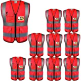 High Visibility Safety Vests 10 Packs,Wholesale Reflective Vests with Multi Pockets for Outdoor Works, Cycling, Jogging, Walk