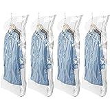 吊るせる圧縮袋 衣類収納袋 冬物用 ドレス用 洋服用 掃除機対応可能 大容量 再利用可能 あっしゅく袋 ポンプ要らず 135*70cm 4枚入