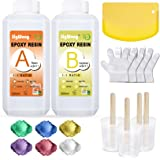Epoxy Resin Clear Crystal Coating Kit 600ml/23oz - 2 Part Casting Resin for Art, Craft, Jewelry Making, River Tables, Bonus M