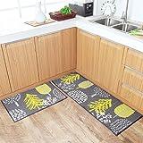 HEBE Kitchen Rugs Runner Set 2 Piece Non-Slip Kitchen Mat and Rug Set Rubber Backing Doormat Runner Rug Set Machine Washable