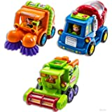 WolVol (Set of 3) Push and Go Friction Powered Car Toys for Boys - Street Sweeper Truck, Cement Mixer Truck, Harvester Toy Tr