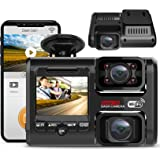 Pruveeo D30H Dash Cam with Infrared Night Vision and WiFi, Dual 1080P Front and Inside, Dash Camera for Cars Truck Taxi