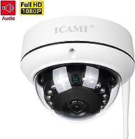 ICAMI 防犯カメラ HD 1080P ワイヤレス IP 監視カメラ SDカードスロット内臓で自動録画 WIFI対応 動体検知 アラーム機能 音声機能 暗視撮影