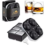 SUNSET Large Silicone Square Ice Cube Tray + Giant Ice Ball Mold with Locking Lid - Set of 2 with Funnel - Ice Moulds for Whi