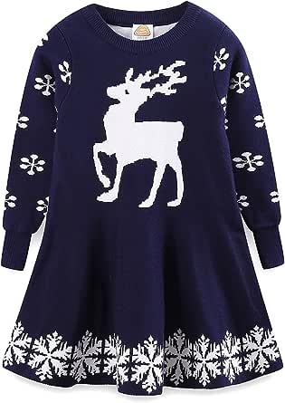 LittleSpring キッズ ニット セーター ワンピース aライン フレア スカート トナカイ クリスマス 衣装 子供服 女の子 秋冬