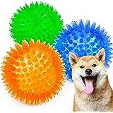 ABPET 犬おもちゃ 3個 犬用ボール 噛むおもちゃ 音の出るおもちゃ 知育玩具 天然ゴム 弾力性 耐久性 ストレス解消 運動不足 訓練用 中小型犬に適用 (3色S)