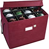"""612 Vermont Christmas Ornament Storage Box with Adjustable Acid-Free Dividers, 3 Removable Trays with Handles, 17"""" x 13"""" x 13"""