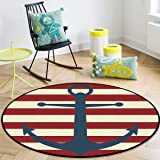 OneHoney Round Area Rugs, Vintage Nautical Anchor Red Striped Indoor Entryway Doormat Throw Runner Rug Floor Carpet Pad Yoga
