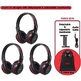 3 Pack of DVD Wireless Headphones Car Kids Headphones IR Headphones for Car Entertainment System Wireless IR Headphones with