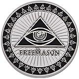 秘密結社 フリーメイソン コイン Freemasonry 保存用 記念 シルバー 黒