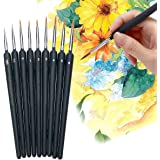 9 PCS Paint Brushes Set Nail Art Brushes Professional Sable Hair Extra Fine Detail Brushes for Watercolour Painting Acrylic M