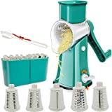 Aurrako Rotary Cheese Grater Shredder with Handle,Kitchen Vegetable slicer with 5 Stainless Steel Drum Blades,Easy Clean 18X