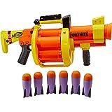 NERF - Fortnite - GL Rocket Firing Blaster - pump to fire blaster with 6 rocket drum - includes 6 official NERF - rockets - K