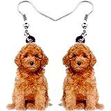 NEWEI Acrylic Sweet Teddy Dog Earrings Big Long Dangle Drop Animal Jewelry For Women Girls Gift Charms
