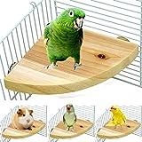 LSSH Bird Perch Platform Stand,Wood Perch Bird Platform Parrot Stand Playground Cage Accessories for Small Anminals Rat Hamst