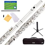 Mendini Nickel Silver Closed Hole C Flute with Stand 1 Year Warranty Case Cleaning Rod Cloth Joint Grease and Gloves - MFE-N+