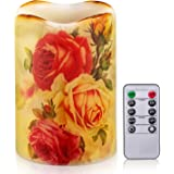 Flameless Candle Flickering Rustic Roses Battery Operated LED Candle Real Wax Pillar with Remote Timer, Home Decor Dripless F