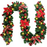 Christmas Garland Decorations, Fireplaces Stairs Decorated Garlands,Color LED Lights Illuminated Artificial DIY Garland Wreat
