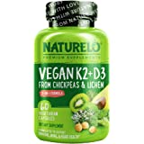 NATURELO Vegan K2+D3 - Plant Based D3 from Lichen - Natural D3 Supplement for Immune System, Bone Support, Joint Health - Who
