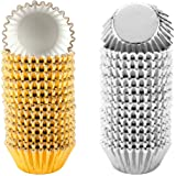 """1000 PCS Cupcake Liners 1.25"""" Mini Foil Baking Cups Wrapper Muffin Cases Gold and Silver Tulip Paper Cups for Baby Shower, Bi"""