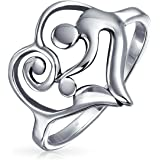 Swirling Heart Mother Loving Family Ring For Women Mom 925 Sterling Silver Band 1MM