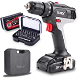 TOPEX 20V Max Lithium Ion Cordless Drill Driver Screwdriver with Bits set