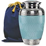 Hugs and Kisses Light Blue Adult Urn for Human Ashes - This Large Elegant Light Blue Enamel and Nickel Urn is a Perfect Tribu