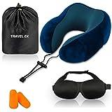 Travel EK Travel Pillow, Memory Foam, with Ear Plugs, Eye Mask, Carry Bag - Adjustable Neck Pillows for Traveling - Flight Cu