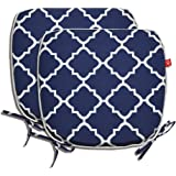 """Pcinfuns Indoor/Outdoor All Weather Chair Pads 16"""" X 15"""" Seat Cushions Garden Patio Home Chair Cushions, Set of 2 (Navy Blue)"""