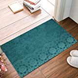 Welcome Doormats for Entrance Way, Aqua Teal Mandala Floral Turquoise Indian Boho Ethnic Style Non-Slip Indoor Area Runner Ru