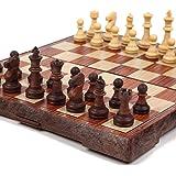 チェス マグネット 木製風 アンティーク ボードを折りたたむと収納可能 【日本語説明書付き】 Mサイズ (24×28セン…