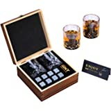 Whisky Stones and Glasses Gift Set, Whisky Rocks Chilling Stones in Handmade Wooden Box– Cool Drinks without Dilution – Whisk