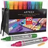 ARTEZA Acrylic Paint Markers, Set of 40 Assorted Color Pens with Replaceable Tips, for Rocks, Canvas, Glass, and Plastic