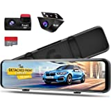 PORMIDO 12 inch Mirror Dash Cam with Detached Front Camera 360°,Anti Glare Touch Screen Full HD 1920P,Car Rear View Backup Ca