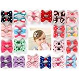 Ezepeo 40 pcs 1.8 Inches Baby Girls Ribbon Hair Bow Clips Printed Pattern Barrettes Hairpins Hair Accessories for Girl Teens