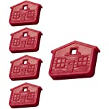 Lucky Line House Shaped Key Cap for KW1 & SC1 Key Ways, Red, 5/PK (162705)