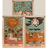 Tarot Flag Tapestry - The Sun, The Moon and The Star - Bohemian Cotton Printed Hand Made Wall Hanging Tapestries with Steel G