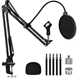 """InnoGear Adjustable Mic Stand Set for Blue Yeti Nano Suspension Boom Scissor Arm Stand with 5/8"""" to 3/8"""" Screw, 5/8"""" to 1/4 S"""
