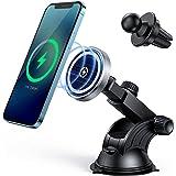 【2021最新発売】Aouevyo 車載ホルダー マグネット 15W ワイヤレス充電器 iPhone12 / 12 Pro / 12 Pro Max / 12 miniに対応 Magsafeに対応 スマホホルダー 車 超強磁力 粘着ゲル吸盤&エアコン
