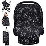 Nursing Cover Carseat Canopy, Rquite Car Seat Covers for Babies Mom Breastfeeding Scarf Infant Multi Use Cover Ups for Baby S