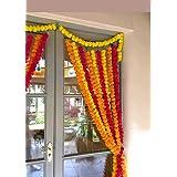 Estationeryhouse 5 feet Long Mixed Marigold Garlands Artificial Flower, Wedding, Mehndi, Party (Pack of 10)
