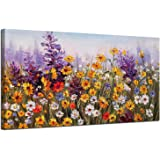 Ardemy Canvas Wall Art Daisy Colorful Bloosom Yellow Flowers Artwork Painting Prints Modern Picture Framed Ready to Hang for